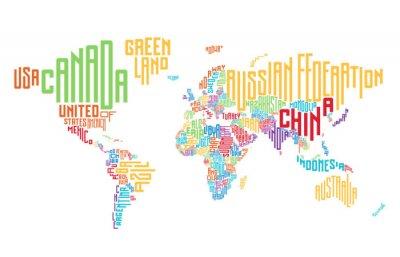 Sticker Carte du monde composée de noms de pays typographiques