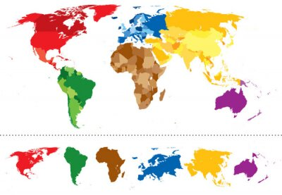Sticker Carte du monde continents multicolores