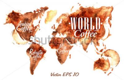 Sticker Carte du monde de dessiner verser du café avec inscription arabica, robusta, mélanger avec des éclaboussures et des taches coupe tasse.