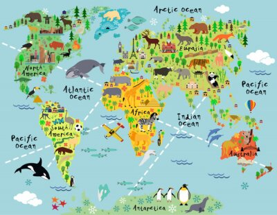 Sticker Carte du monde de dessins animés
