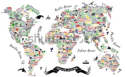 Sticker Carte du monde de typographie. Affiche de voyage avec des villes et des attractions touristiques. Illustration vectorielle inspirante.