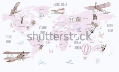 Sticker Carte du monde des animaux pour la conception de papier peint pour enfants