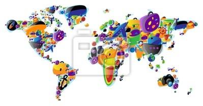 Carte du monde des icônes colorées