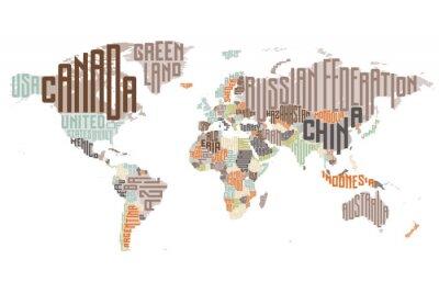Carte du monde fait des noms de pays typographiques