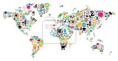 carte du monde faite d'icônes