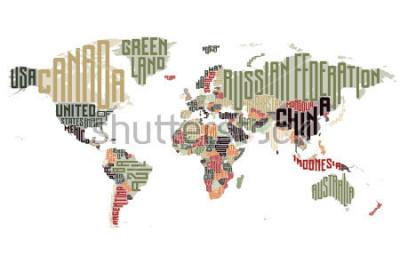 Sticker Carte du monde faite de noms de pays typographiques. Illustration vectorielle