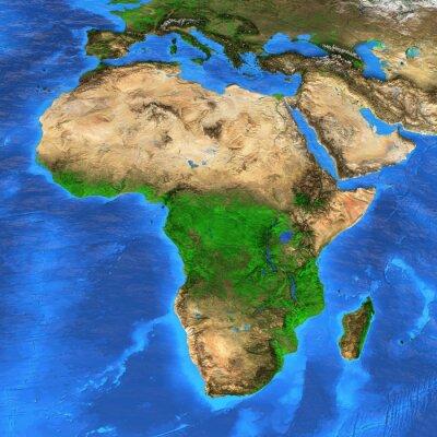 Sticker Carte du monde haute résolution centrée sur l'Afrique
