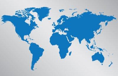 Sticker Carte du monde illustration sur fond gris