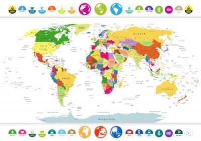 Sticker Carte du monde politique avec des icônes et des globes plats