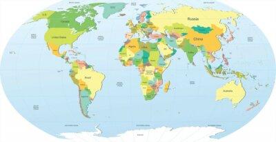 Sticker carte du monde politique en couleur