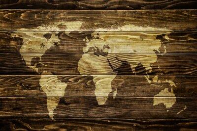 Sticker Carte du monde sur fond de bois