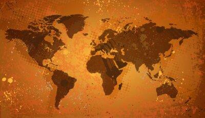 Carte du monde sur fond grunge
