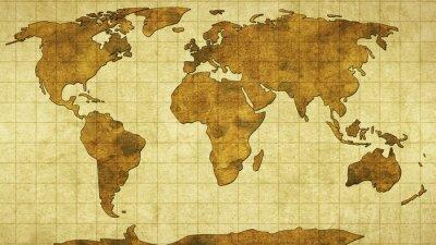 Sticker Carte du monde sur le vieux papier