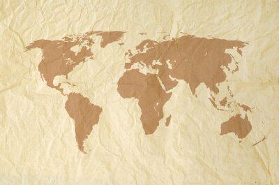 Sticker Carte du monde sur Yallow Vintage paper texture de fond