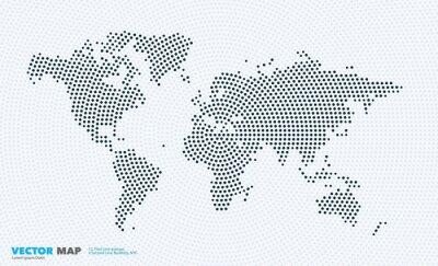 Sticker Carte du monde vectoriel avec des rondes, des points, des points pour les modèles d'entreprise