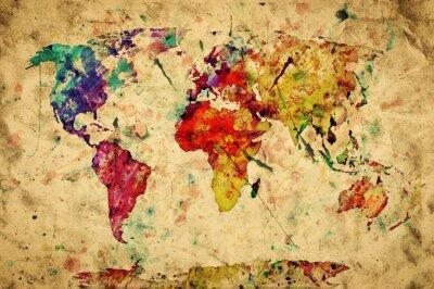 Sticker Carte du monde vintage. Peinture colorée, aquarelle sur papier grunge