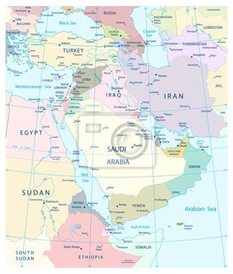 Carte du Moyen-Orient et Asie du Sud-Ouest.