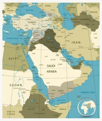 Carte du Moyen-Orient et de l'Asie. Couleurs militaires