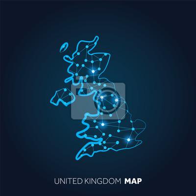 Sticker Carte du Royaume-Uni réalisée avec des lignes connectées et des points lumineux.