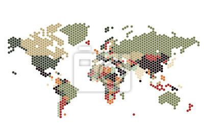 Carte en pointillés des points hexagonaux