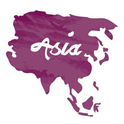 Sticker Carte isolée de l'Asie sur un fond blanc, illustration vectorielle