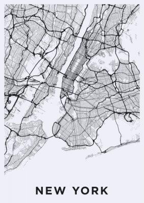 Sticker Carte lumineuse de la ville de New York. Carte routière de New York (États-Unis). Illustration en noir et blanc (lumière) des rues de new york. Réseau de transport de la Big Apple. Format affiche impr