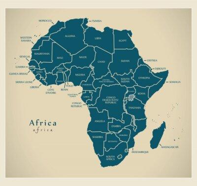 Sticker Carte moderne - continent africain avec étiquettes de pays