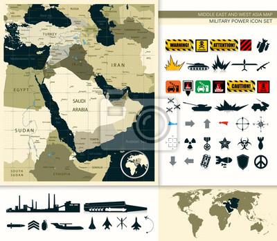 Carte, Moyen-Orient, Asie, puissance, puissance, icône ...