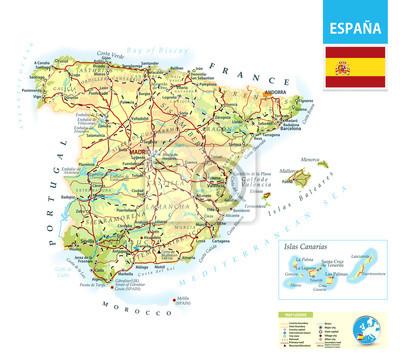 Carte physique détaillée de l'Espagne