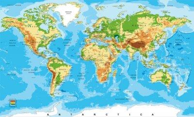 Carte physique du monde