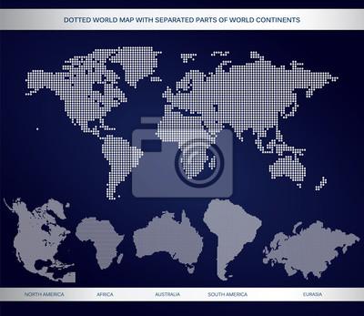 Carte pointillé du monde avec des parties séparées de continents du monde