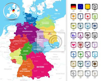 Carte politique de l'Allemagne avec des pointeurs de broches 3D.