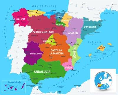 Sticker Carte politique de l'Espagne
