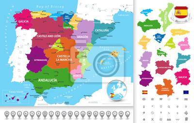 Carte politique de l'Espagne avec la collecte des icônes de navigation