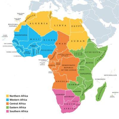 Sticker Carte politique des régions de l'Afrique avec les pays célibataires. Géoschème des Nations Unies. Afrique du Nord, de l'Ouest, du Centre, de l'Est et du Sud de différentes couleurs. Étiquetage en angl