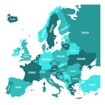 Sticker Carte politique du continent Europe en quatre nuances de bleu turquoise avec des étiquettes de nom de pays blanc et isolé sur fond blanc. Illustration vectorielle