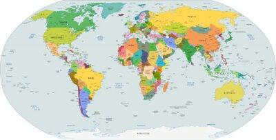 Sticker Carte politique globale du monde, vecteur