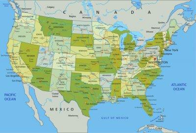 Sticker Carte politique modifiable très détaillée avec des couches séparées. Etats-Unis d'Amerique.