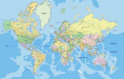 Sticker Carte politique très détaillée du Monde avec l'étiquetage.