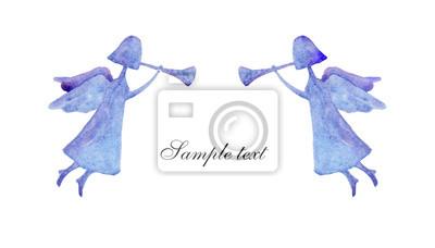 carte romantique avec des anges bleus