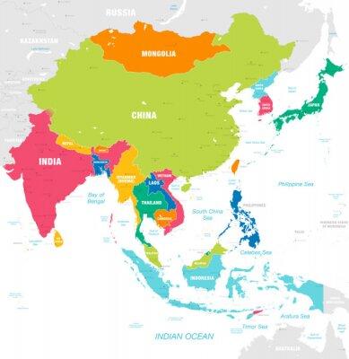 Sticker Carte vectorielle coloré de l'Asie de l'Est