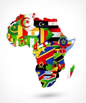Sticker Carte vectorielle de l'Afrique avec des drapeaux et l'emplacement sur la carte du monde
