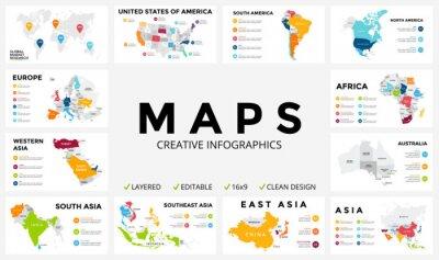 Sticker Carte vectorielle infographique. Diaporama. Global concept de marketing d'entreprise. Couleur pays. Données géographiques sur les transports mondiaux. Modèle de statistiques économiques. Monde, Amériq