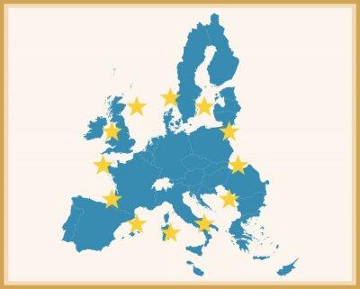 Sticker Carte vintage de l'Union européenne avec le drapeau de l'UE