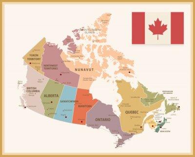 Sticker Carte vintage du Canada avec le drapeau