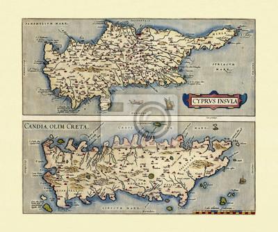 Carte Chypre Crete.Sticker Cartes Anciennes De Chypre Et De Crete Deux Cadres Disposes