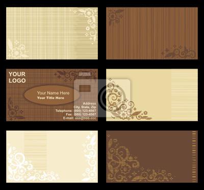 Sticker Cartes De Visite Professionnelle Beige Et Brun