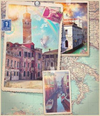 Sticker Cartes postales anciennes et collage de Venise City