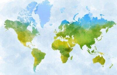 Sticker Cartina mondo, disegnata illustrata pennellate