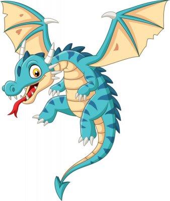 Sticker Cartoon baby dragon flying on white background